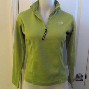 THE NORTH FACE GREEN 3/4 ZIP PULL-OVER TOP SIZE S